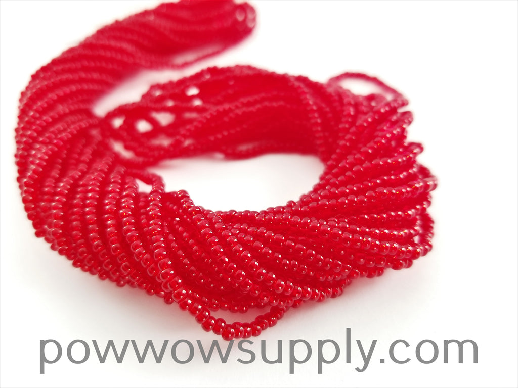 12/0 Seed Beads Transparent Dark Red