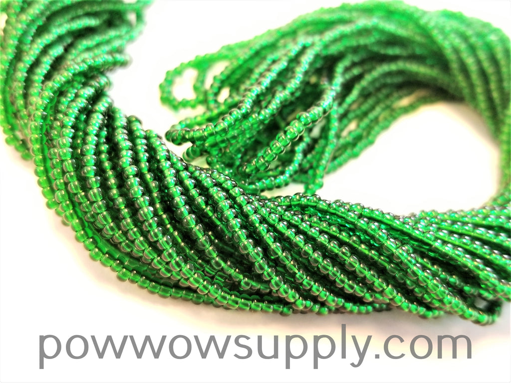 13/0 Seed Beads Transparent Medium Green