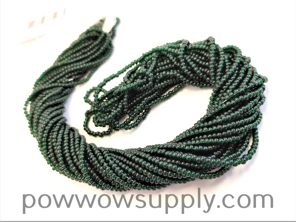 13/0 Seed Beads Transparent Dark Green