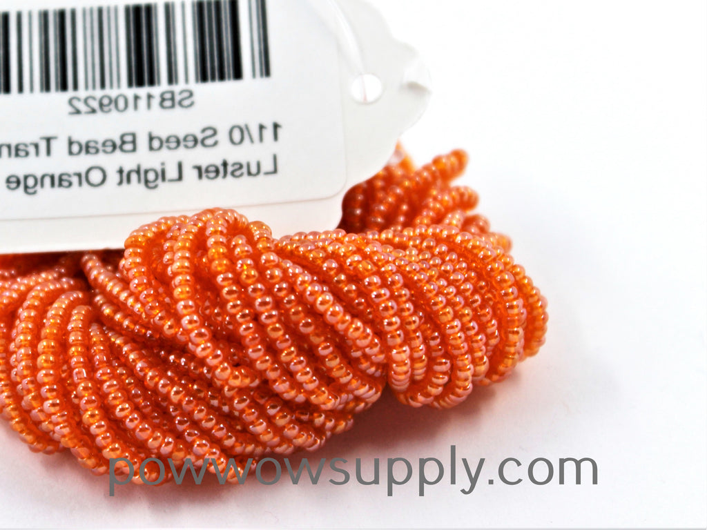 11/0 Seed Beads Transparent Luster Light Orange