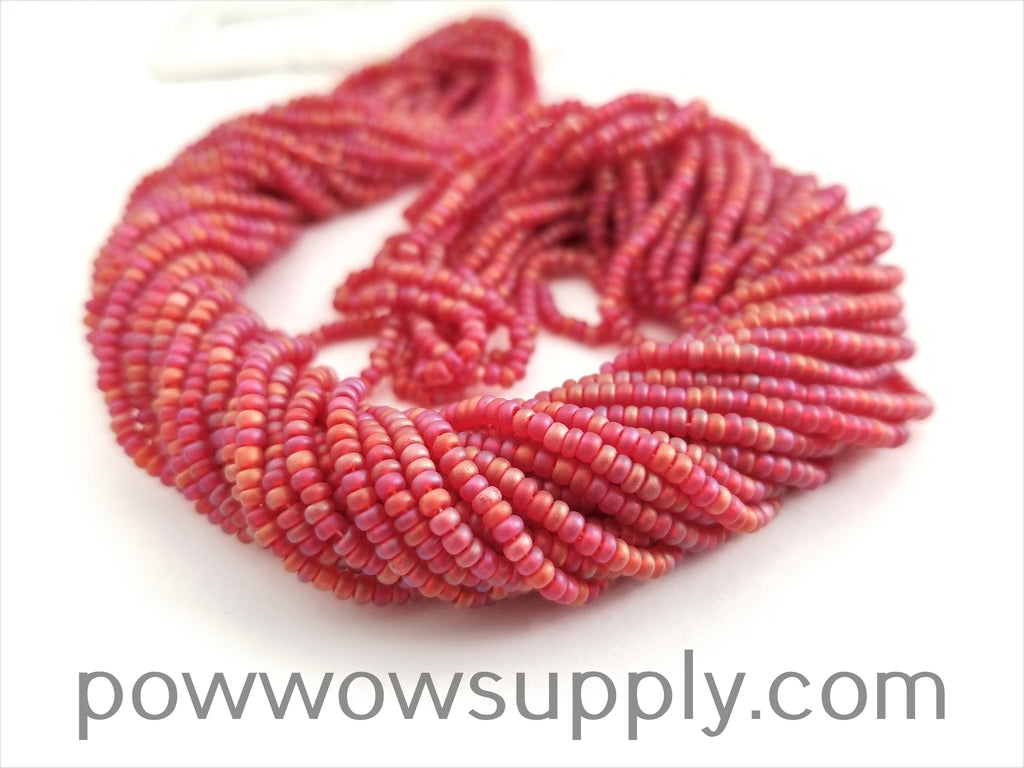 11/0 Seed Bead Transparent AB Matte Dark Red