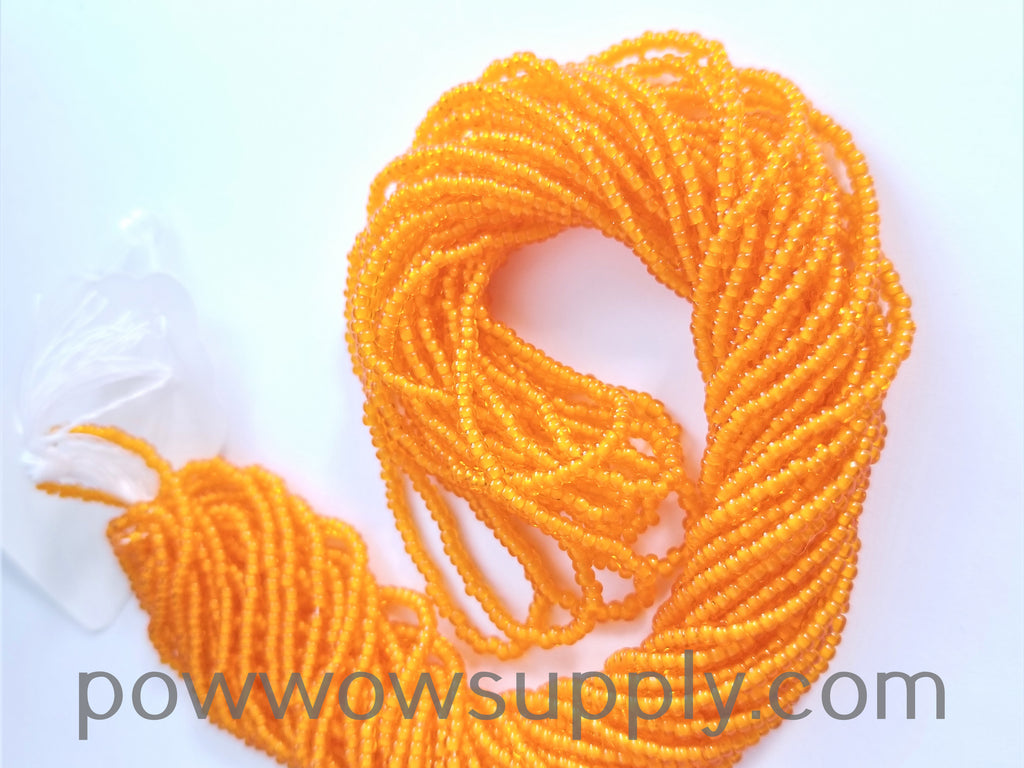 11/0 Seed Bead White Lined Orange