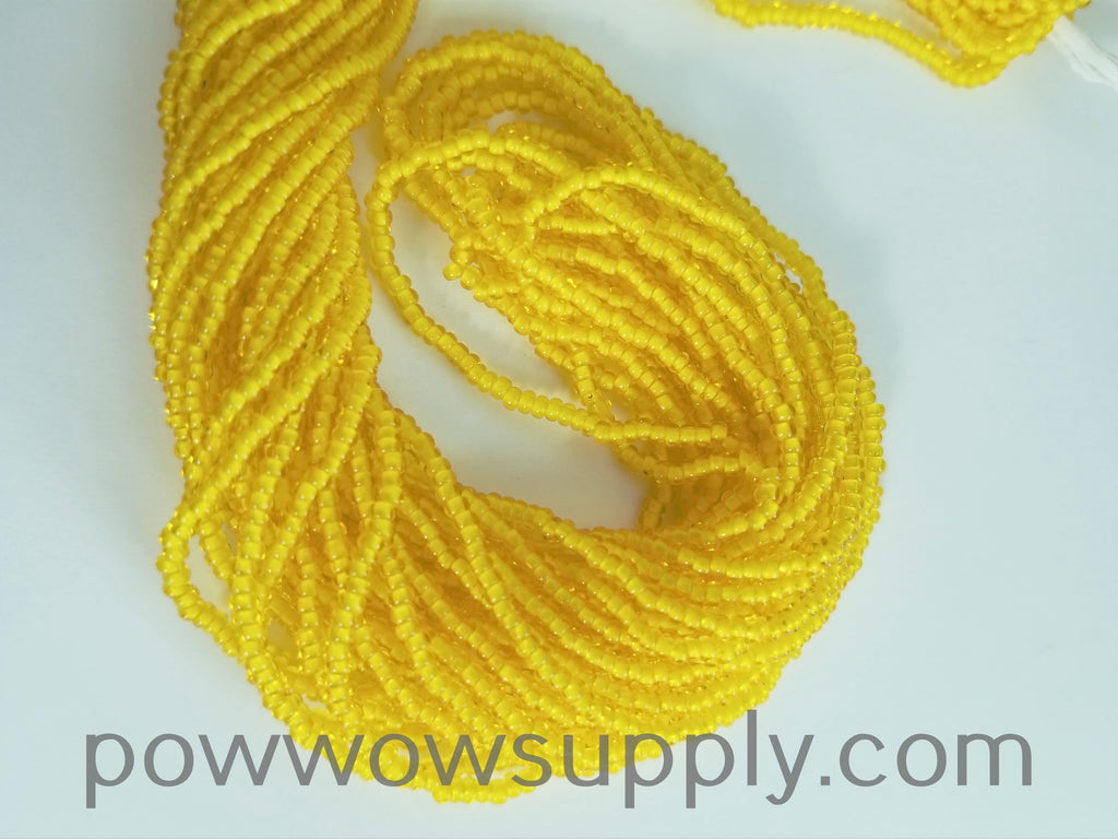 11/0 Seed Bead White Lined Yellow