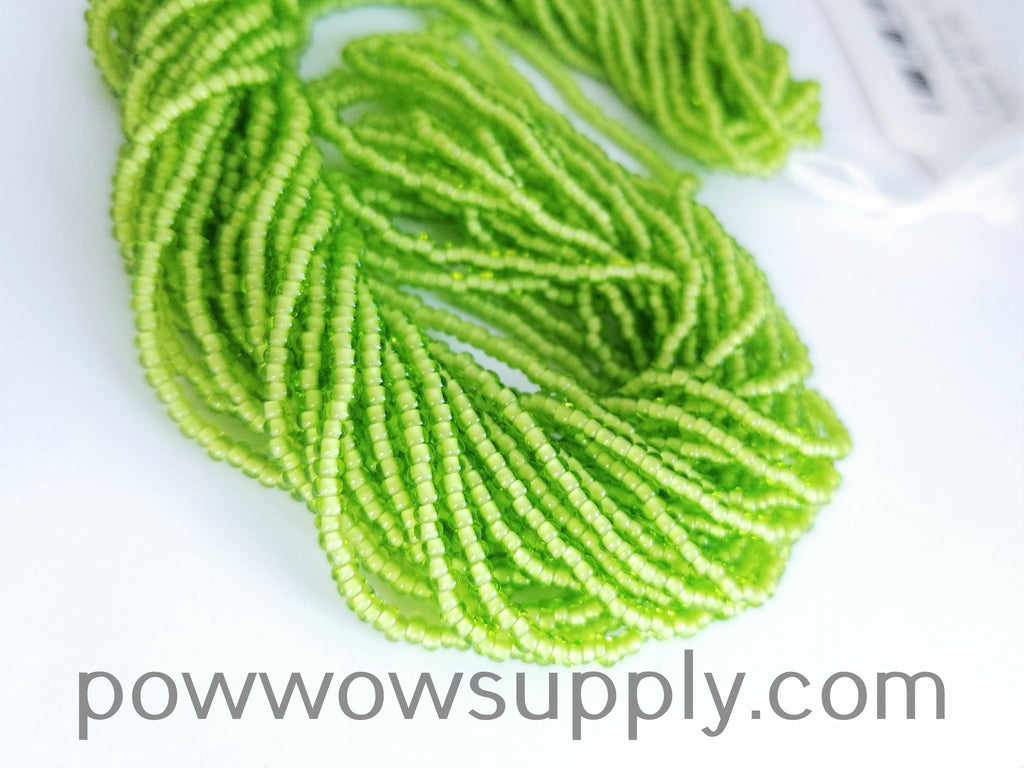 11/0 Seed Bead White Lined Lime
