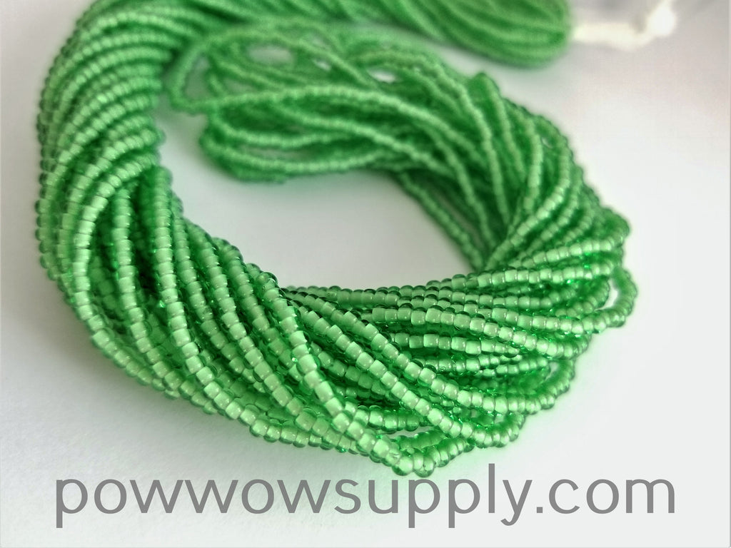 11/0 Seed Bead White Lined Pale Green