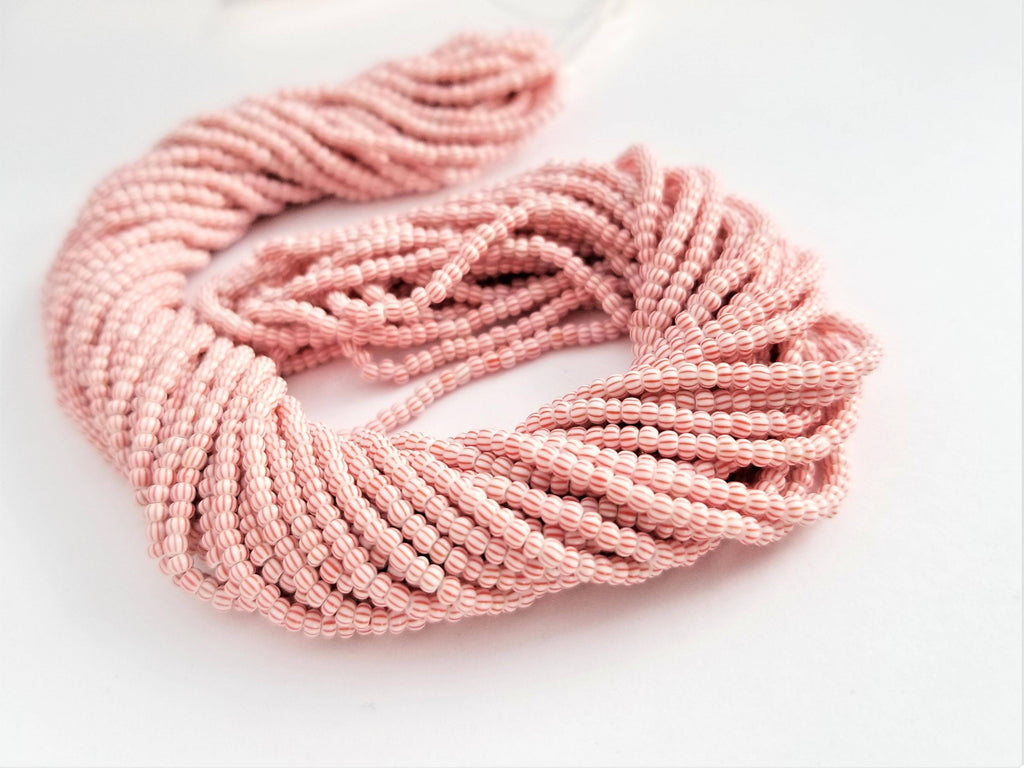 11/0 Seed Bead Striped Red-White Multi Stripe