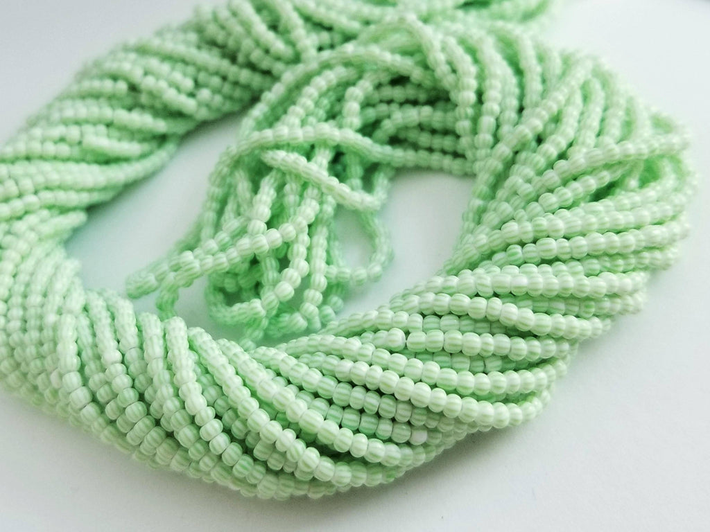 11/0 Seed Beads Green-White Multi Stripe