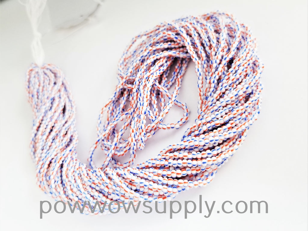 11/0 Seed Bead Striped Red-White-Blue