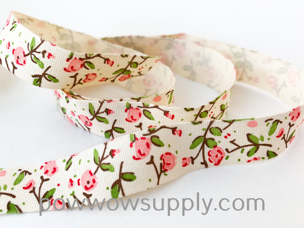 Pink Peony Printed Cotton Tape (5 yards)