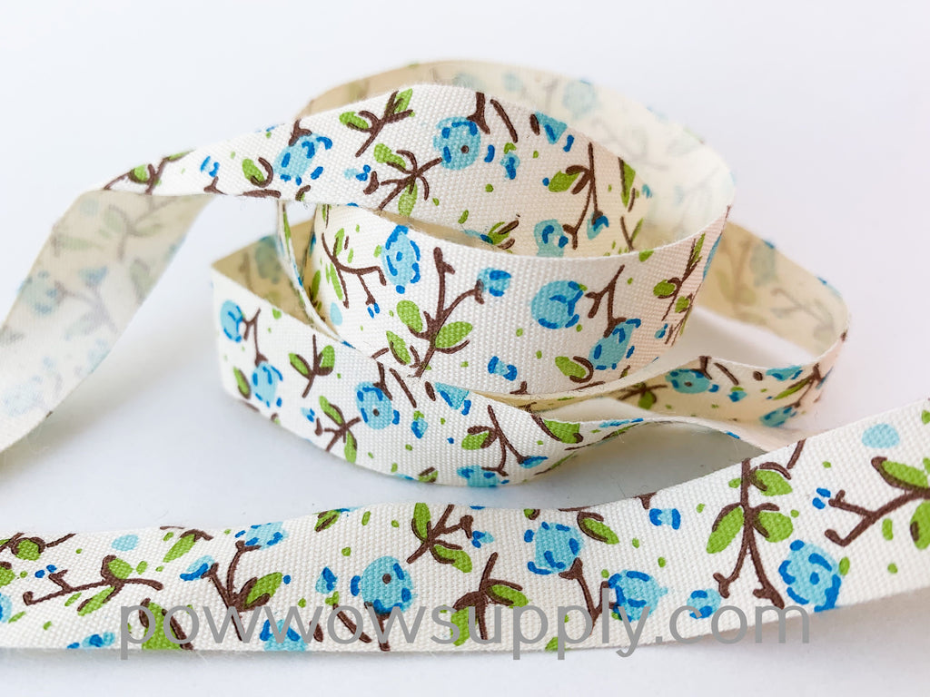 Blue Peony Printed Cotton Tape (5 yards)