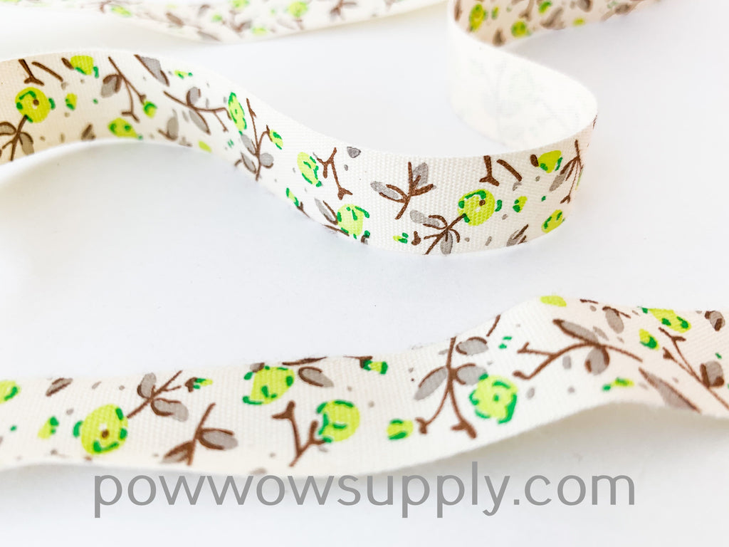 Green Peony Floral Cotton Tape (5 yards)