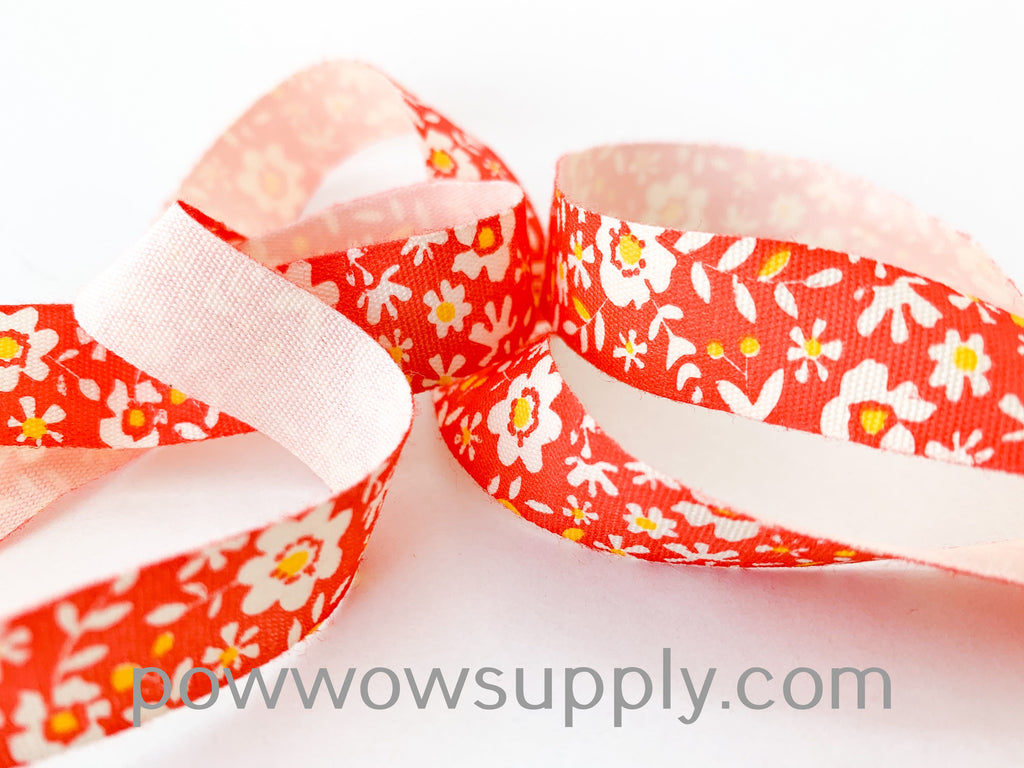 Orange Floral Printed Cotton Tape (5 yards)