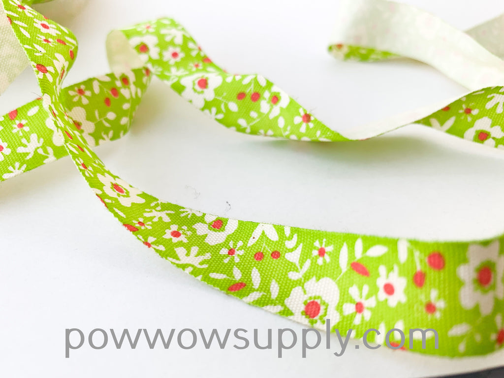 Green Floral Printed Cotton Tape (5 yards)