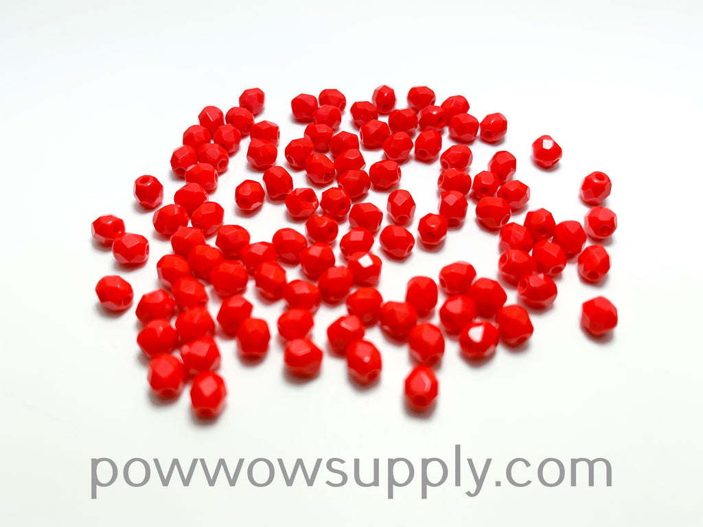 4mm Fire Polish Opaque Red
