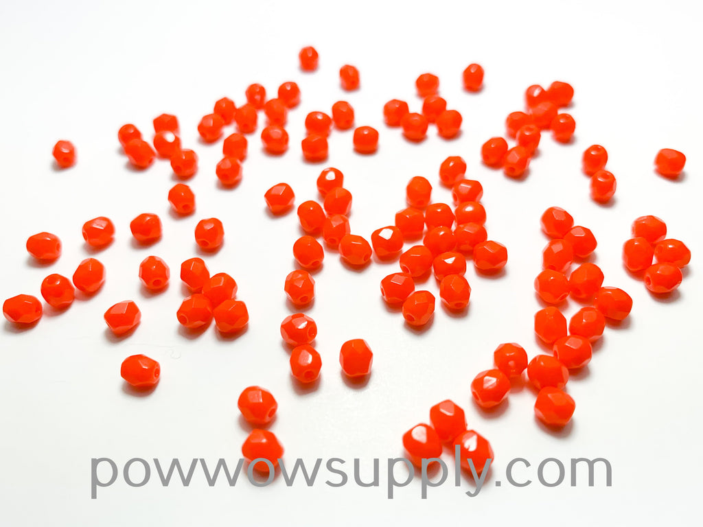 4mm Fire Polish Opaque Orange