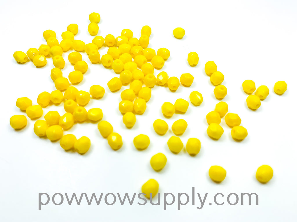 4mm Fire Polish Opaque Yellow