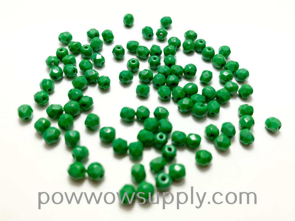 4mm Fire Polish Opaque Green