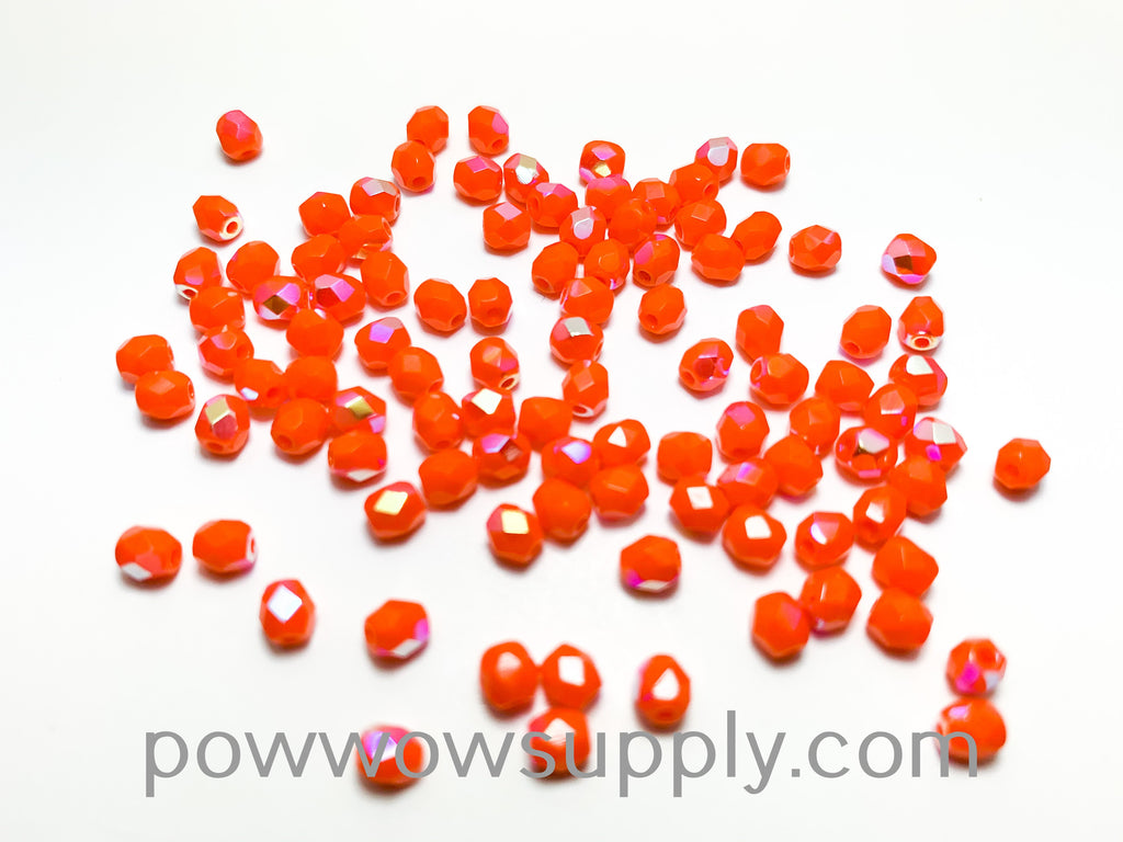 4mm Fire Polish Opaque AB Orange