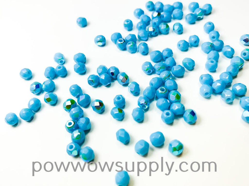 4mm Fire Polish Opaque AB Light Turquoise