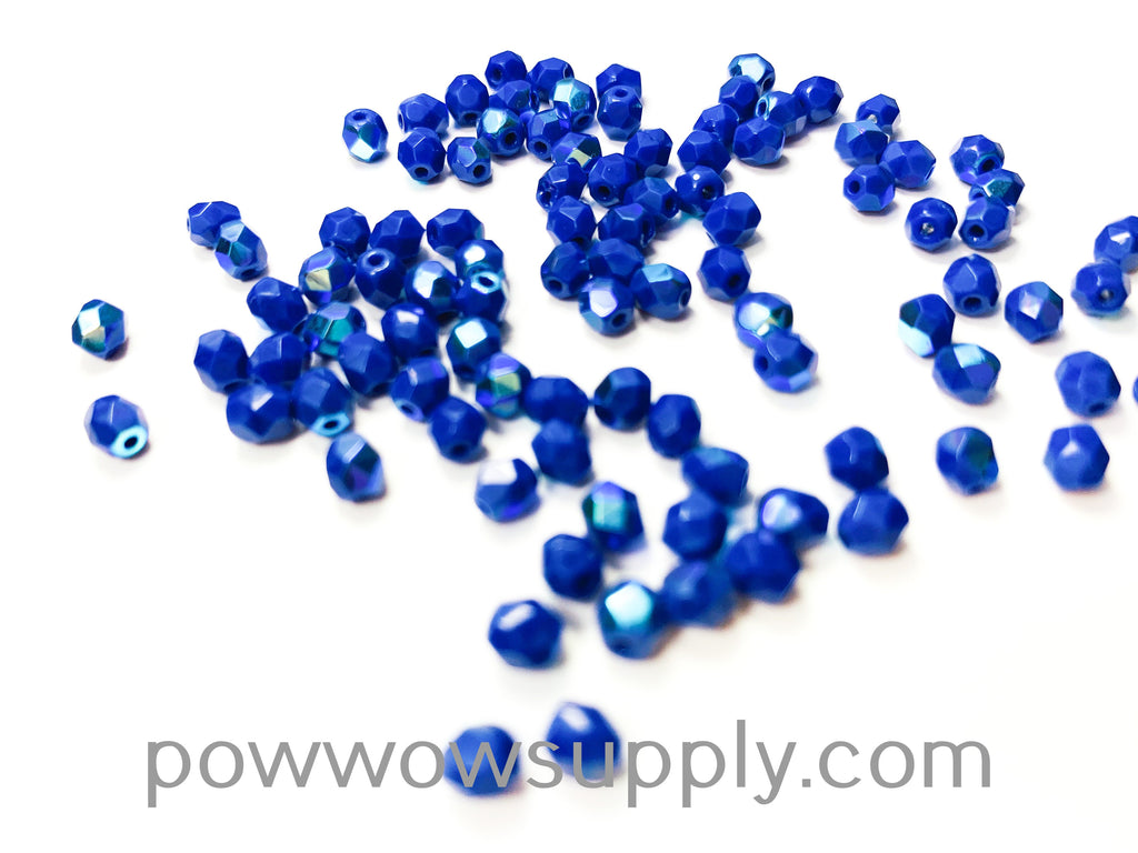4mm Fire Polish Opaque AB Medium Blue