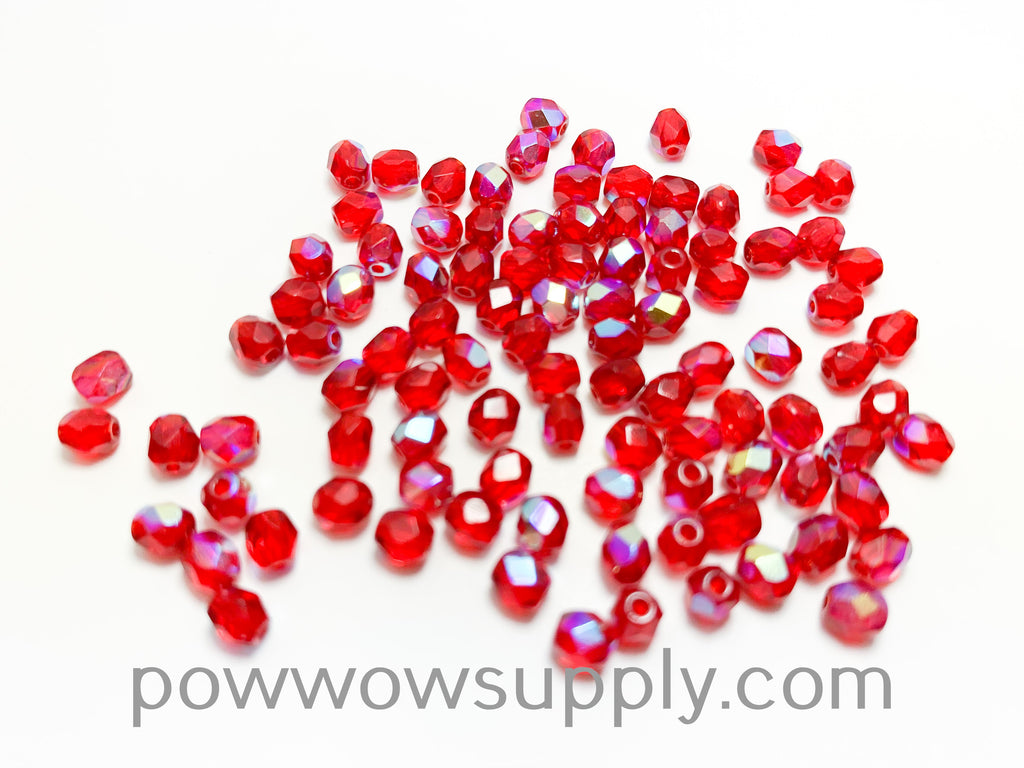 4mm Fire Polish Transparent AB Ruby