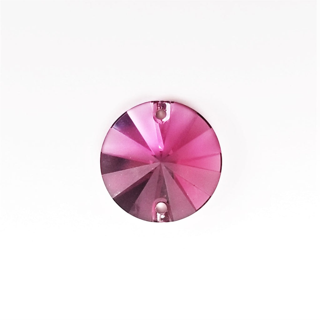 Swarovski 3200 Rivoli 14mm Fucshia Partly Frosted