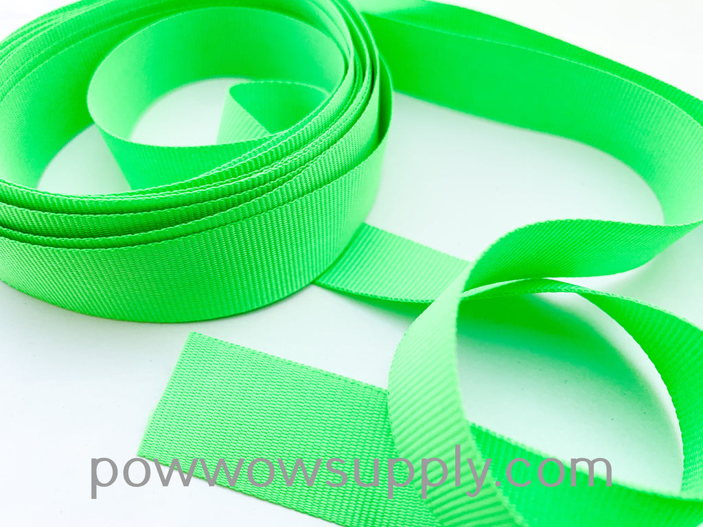 "3-4"" Grosgrain Neon Green (5 yards)"