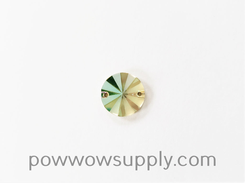 Swarovski 3200 Rivoli 10mm Crystal Luminous Green Partly Frosted