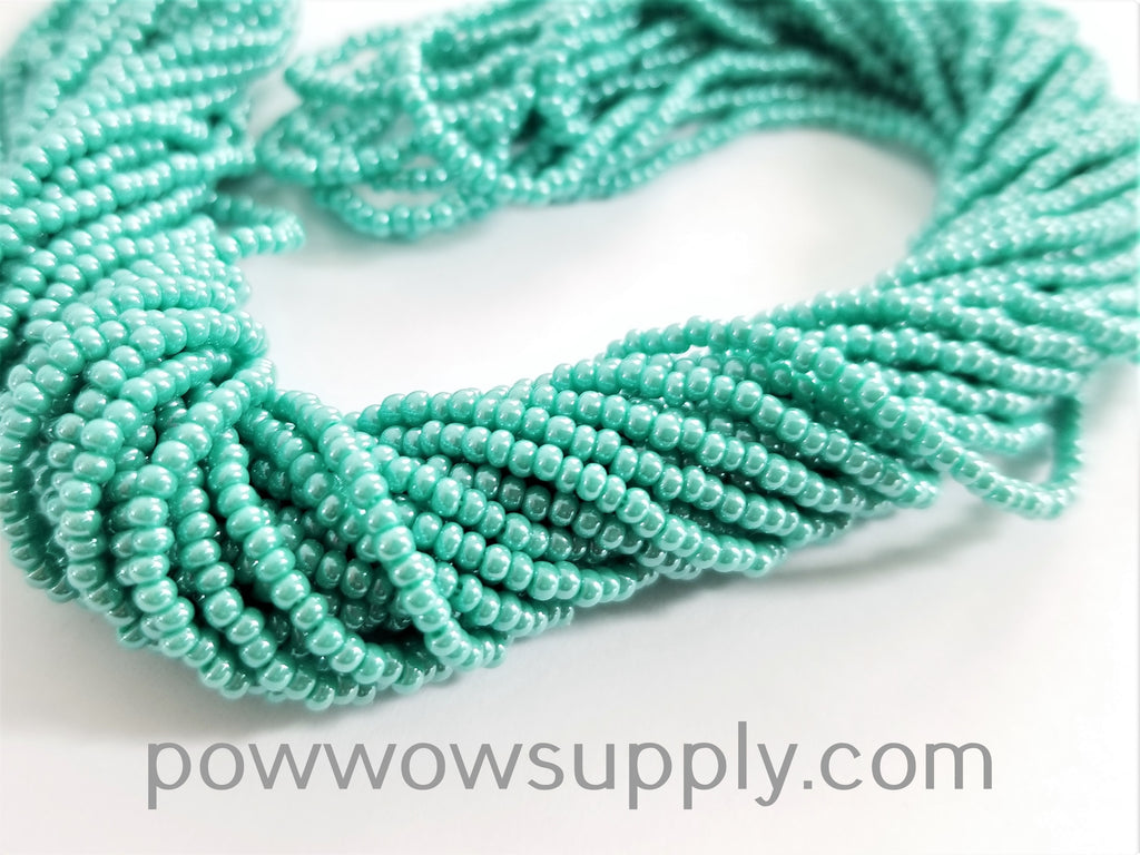 11/0 Seed Beads Opaque Luster Green Turquoise