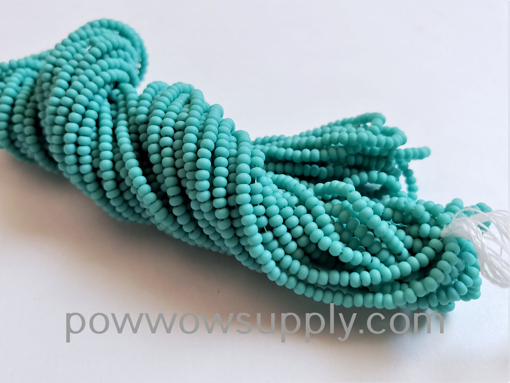 11/0 Seed Beads Opaque Matte Green Turquoise