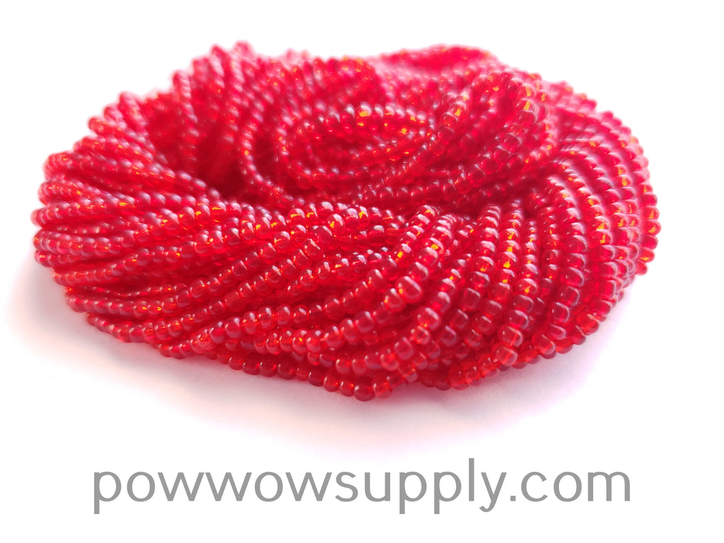 11/0 Seed Beads Transparent Red Mix