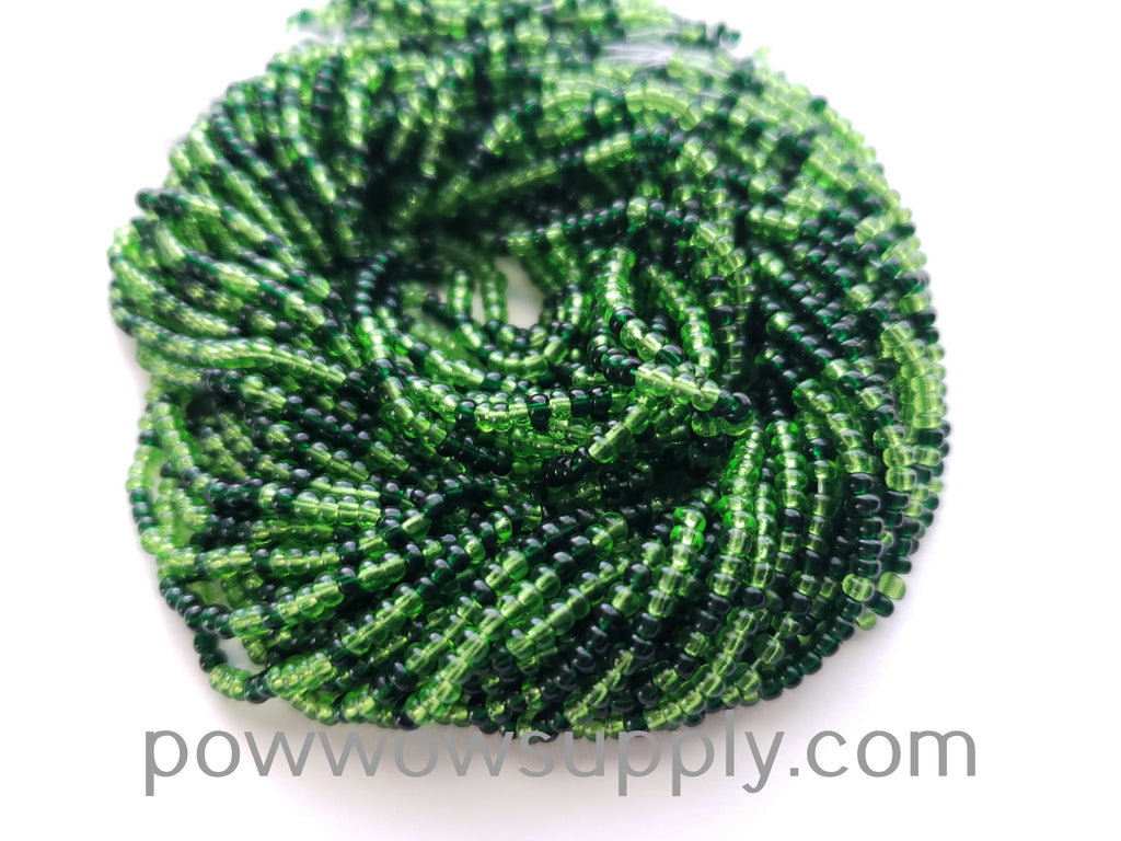 11/0 Seed Beads Transparent Green Mix 2