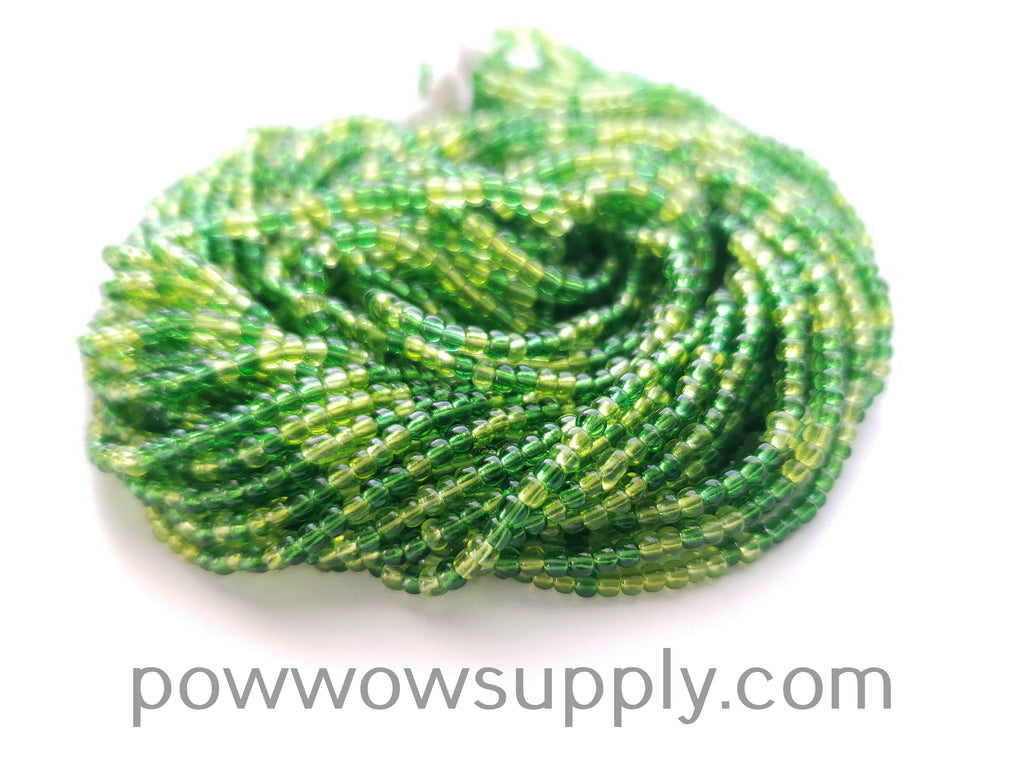 11/0 Seed Beads Transparent Green Mix