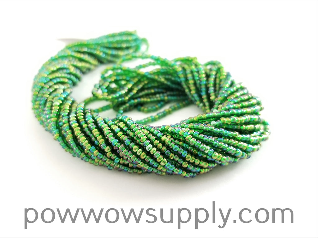 11/0 Seed Beads Transparent AB Green