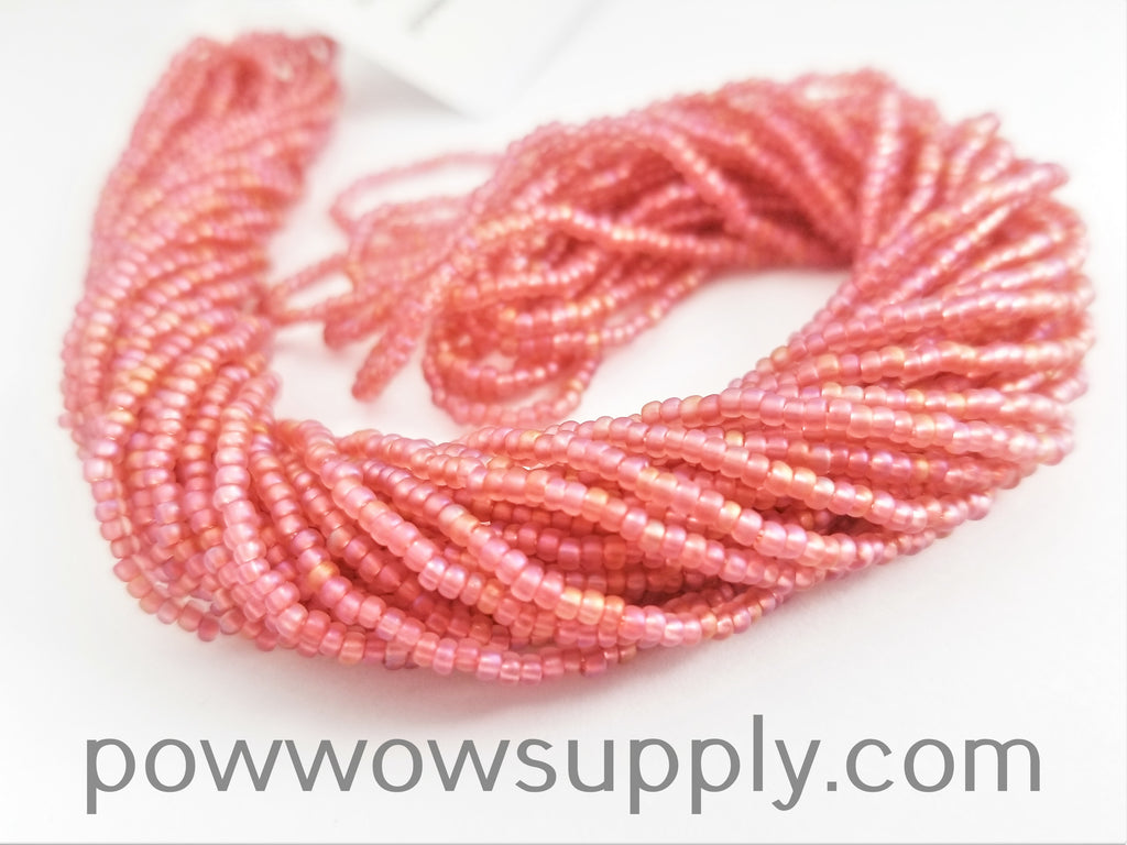 11/0 Seed Bead Transparent AB Matte Deep Rose