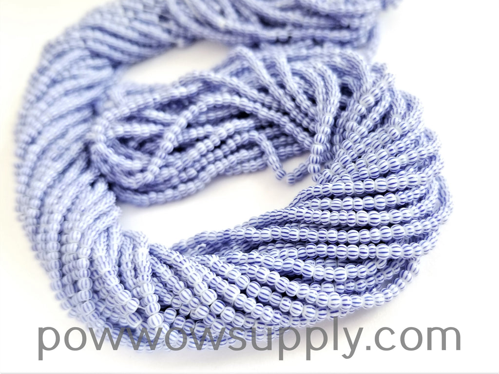 11/0 Seed Bead Striped Light Blue-White Multi Sripe