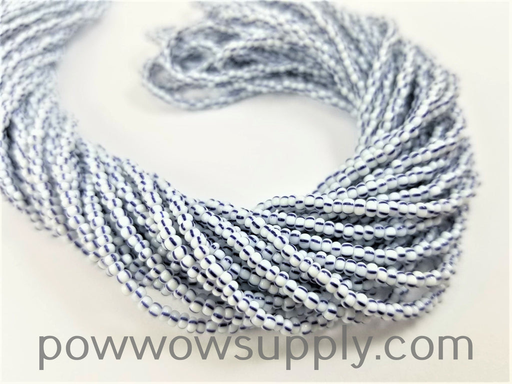 11/0 Seed Beads Striped Dark Blue-White