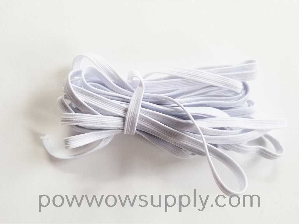 "1/4"" Flat Ribbed Elastic White (5 yards)"