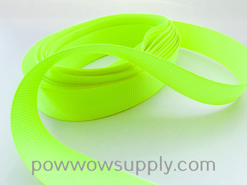 "3-4"" Grosgrain Neon Yellow (5 yards)"