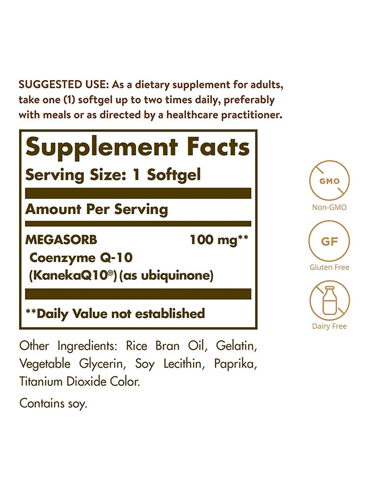 솔가 코큐텐 Solgar Megasorb CoQ-10 100 mg Softgel 90개입