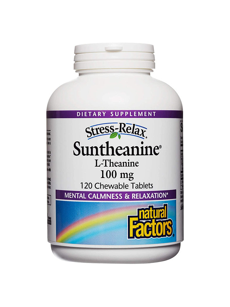 내추럴팩터스 L-테아닌 Natural Factors Stress-Relax Suntheanine L-Theanine 100 mg Chewable 120 개입