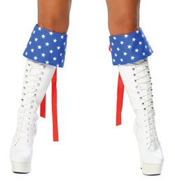 1454B - Red White and Blue Boot Cuffs