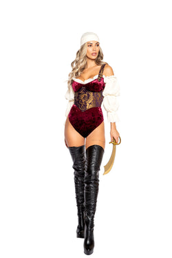 4979 - 4pc Elegant Pirate Maiden Costume - Pink Esmeralda