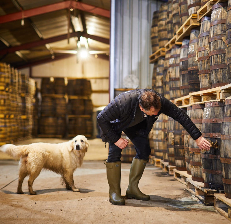Spirit of Yorkshire Distillery Filey Bay inspecting single cask of English whisky