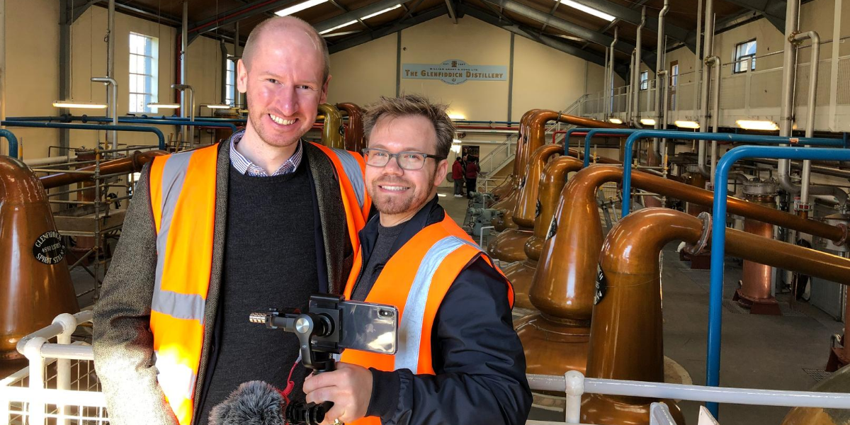 TopWhiskies Founders Evan Hirsch and Ed Leigh at the Glenfiddich single malt scotch whisky distillery