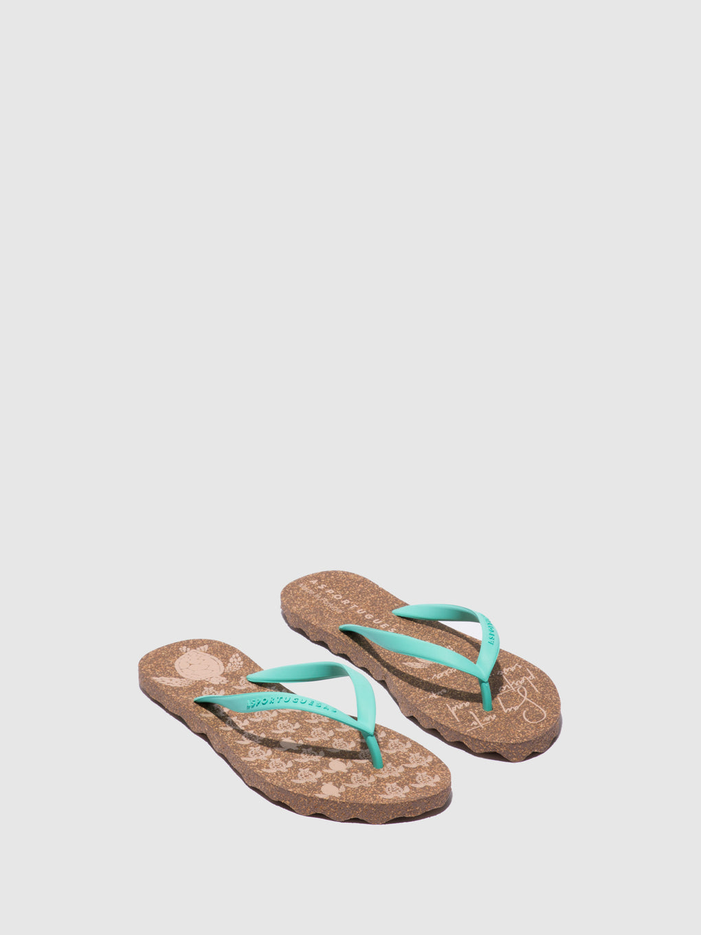 Beach Flip-Flops TURTLE_M Green Rubber Strap