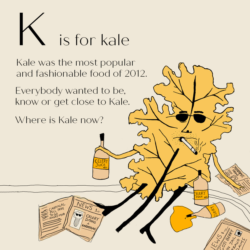 K is for Kale - High Quality Art Print
