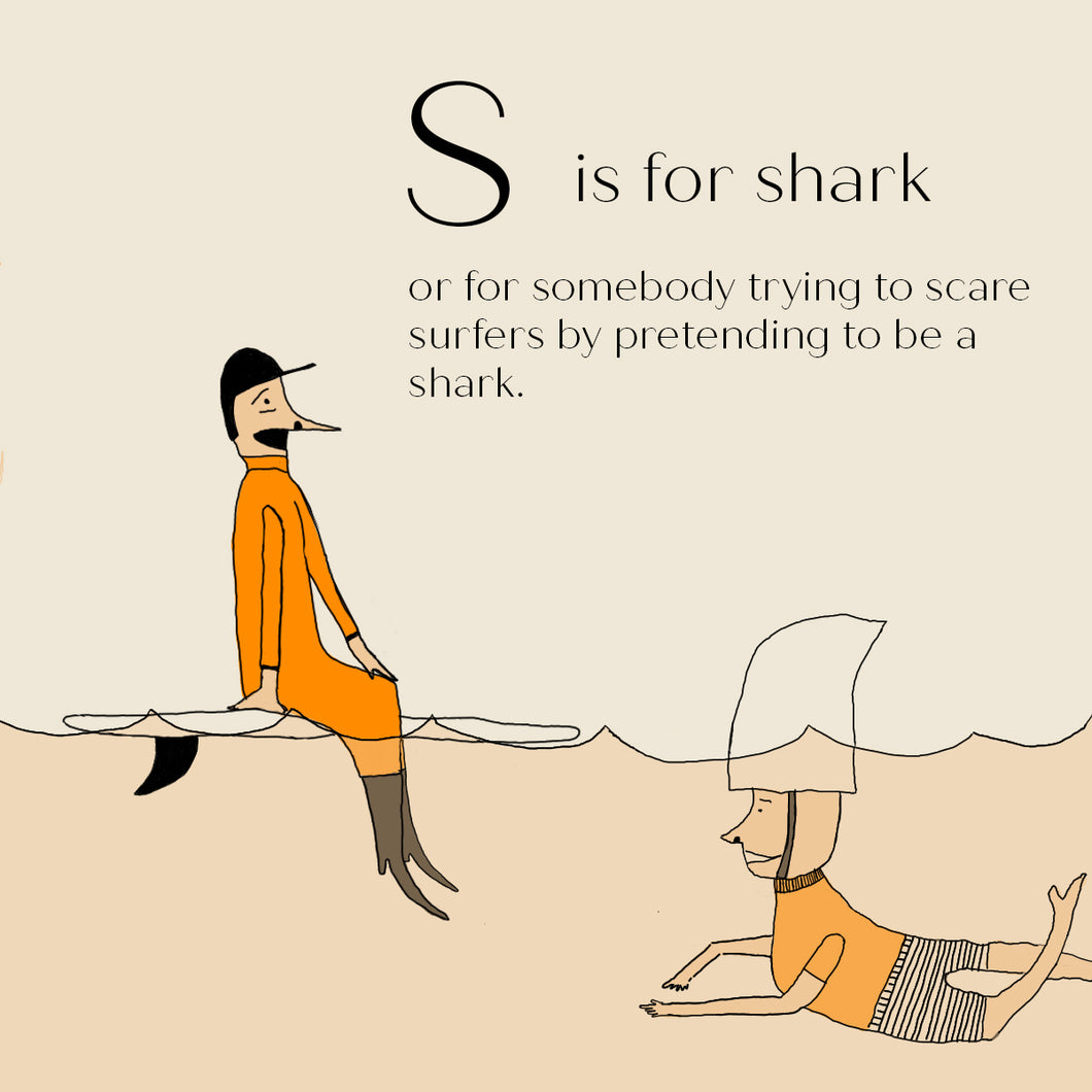 S is for Shark - High Quality Art Print