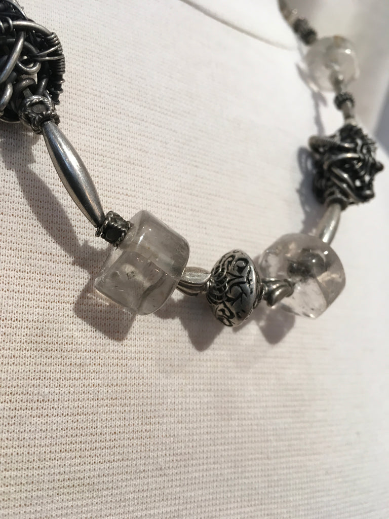 Quartz & Hand Woven Sterling Silver Beads Necklace