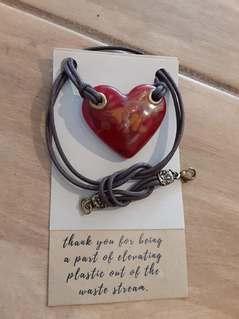 Heart Necklace with Cotton Cord